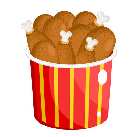 drumsticks: BBQ chicken drumsticks. Vector Fast Food Series.