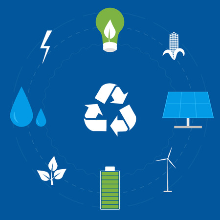 alternative energy sources: Icon Set of Clean Energy, Ecological Types Of Electricity, Renewable Energy, Green Energy. Alternative Energy Sources. Illustration