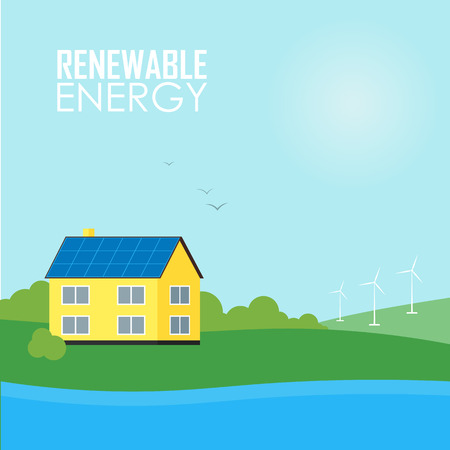 energia renovable: Energía limpia, tipos ecológicos de la electricidad, la energía renovable, la energía verde. Fuentes de energía alternativas. Nuevos tipos de Electricidad. Ilustración Ecología Concept.Windmill.