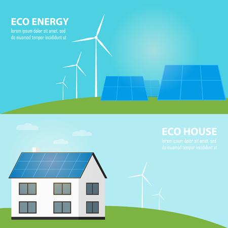 Saubere Energie, Ökologie Arten von Strom, Erneuerbare Energie, Green Energy. Alternative Energiequellen. Neue Typen von Elektrizität. Ökologie Concept.Windmill Illustration. Vektorgrafik