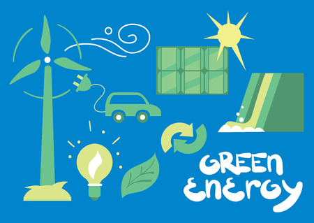 alternative energy sources: Clean Energy, Ecological Types of Electricity, Renewable Energy, Green Energy. Alternative Energy Sources. New Types of Electricity. Ecology Concept. Illustration