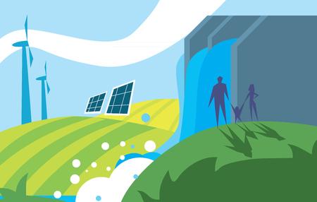 Saubere Energie, Ökologie Arten von Strom, Erneuerbare Energie, Green Energy. Alternative Energiequellen. Neue Typen von Elektrizität. Ökologie Concept.Windmill Illustration.