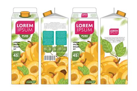 natural food: Apricot Juice Carton Cardboard Box Pack Design