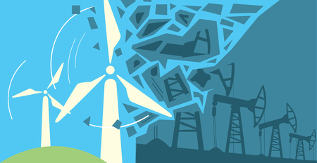 eco energy: Clean Energy, Ecological Types Of Electricity, Renewable Energy, Green Energy. Alternative Energy Sources. New Types of Electricity. Ecology Concept.Windmill illustration.