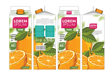 orange juice: Orange Juice Carton Cardboard Box Pack Design