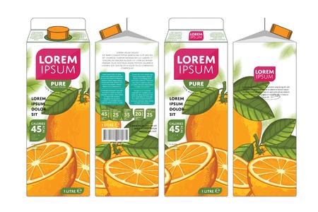 Orange Juice Carton kartonnen doos Pack ontwerp Stockfoto - 50475127