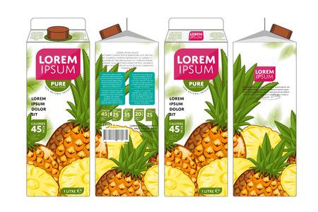 Pineapple Juice Carton Cardboard Box Pack Design