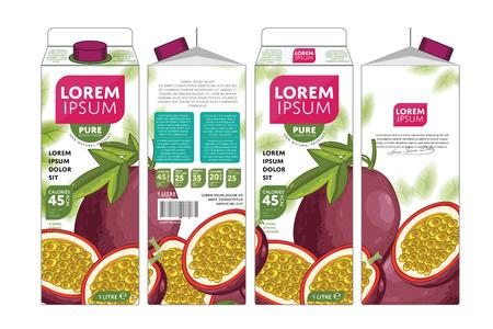 passion fruit: Passion Fruit Juice Carton Cardboard Box Pack Design