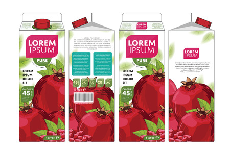 Pomegranate Juice Carton Cardboard Box Pack Design Illustration