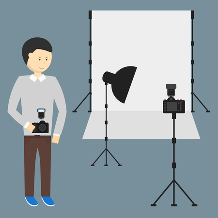 photography backdrop: Photography Studio with a Light Set Up and White Backdrop, Vector Illustration