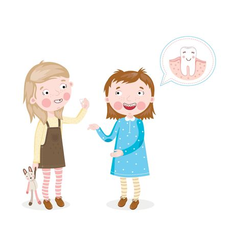 cavity braces: Little girl shows braces on their teeth the other girls Stock Photo