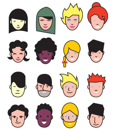 hinduism: Icons avatars Muslims, Christianity, Hinduism and other people. Set multinational people. Vector illustration.