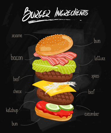 cheese burger: Burger ingredients on chalkboard. Isolated burger parts on chalkboard. Burger with signed ingredients. Set food burger. Double burger eith bacon. Illustration in vintage style burger. Vector burger.