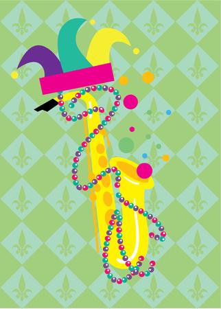 orleans symbol: Mardi Gras. Mardi Gras Abstract Background, Mardi Gras Vector Illustration. Attributes of Mardi Gras Festival.