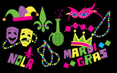 mardi gras mask: Mardi Gras Beads, Mardi Gras Mask and other Attributes of Mardi Gras Festival. Mardi Gras Vector Illustration. Illustration