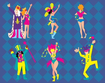 mardigras: Mardi Gras Vector Illlustration. Dancers, costumes, clowns, actors on Mardi Gras Festival. Peoples on Mardi Gras Festival.