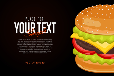 cheeseburger: Burger on Black Background. Cheeseburger with abstract text on black background. Illustration