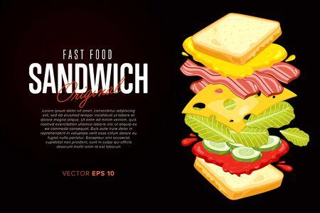 Kanapka na czarnym tle. Sandwich z streszczenie tekstu na czarnym tle. Ilustracje wektorowe