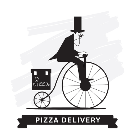 Delivery service of Fast Food Pizza on cartoon character man.
