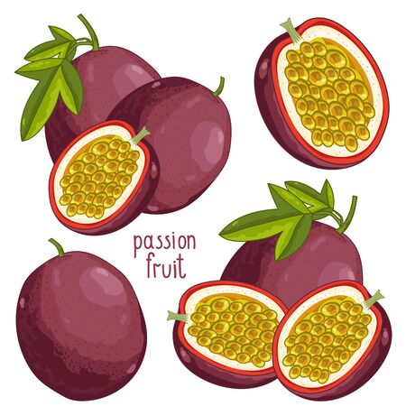 Passion Fruit on white background Illustration