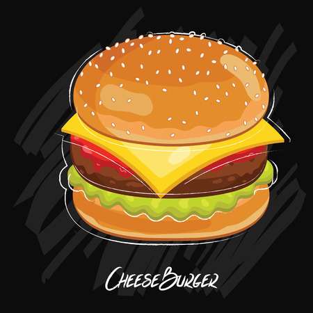 cheeseburger: Cheeseburger isolated, Cheeseburger on white background. Cheeseburger ingredient, original Cheeseburger recipe. Cheeseburger icon, burger bun. Delicious Cheeseburger. Vector Cheeseburger.