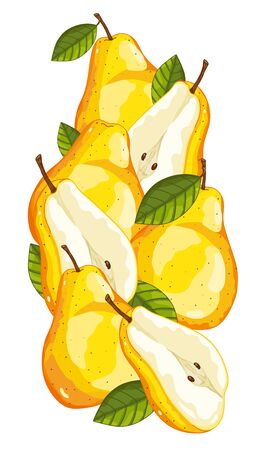 pera: Pera aislada, pera del vector. Composición de la pera en el fondo blanco. Jugosa pera, pera rebanada. Los alimentos orgánicos, los cítricos. Comida natural.