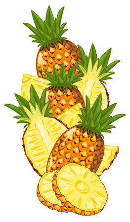 pineapple slice: Pineapple Isolated, Pineapple Vector. Composition of Pineapple on white background. Juicy Pineapple, Pineapple Slice. Organic food, citrus fruit. Natural food.