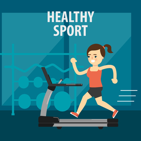 aerobic exercise: Aerobic exercise, running on treadmill. Gymnastics, weight loss. Healthy lifestyle. Fit, athletic, activity