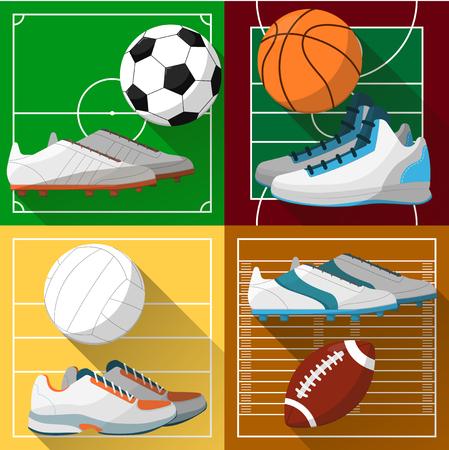 football shoes: Football field, basketball court, volleyball court, rugby field, soccer field. Football shoes, volleyball shoes, basketball shoes. Basketball, rugby ball. Vector icon football, soccer, basketball.