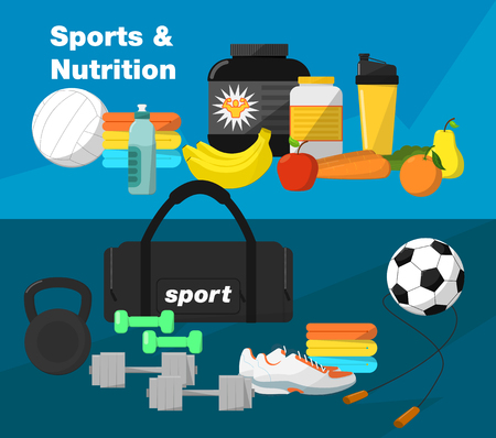 Gym, gym equipment. Gym food. Vector gym icon. Fitness equipment for gym. Fitness food, protein, bananas, sports nutrition. Gym Bag, Gym tools. Jump rope, ball, shoes, towel. Vector Fitness Equipment.