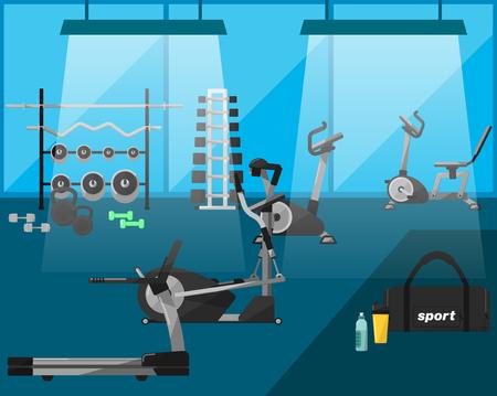 aparatos electricos: Gimnasio, entrenamiento de la gimnasia, equipo de gimnasio. Interior de la gimnasia. gimnasio vector. aparatos de ejercicios en un gimnasio, m�quinas de cardio, gimnasio con aparatos de gimnasia. Cinta de correr, pesas, mancuernas. Vectores iconos de gimnasio. Culturismo. Vectores