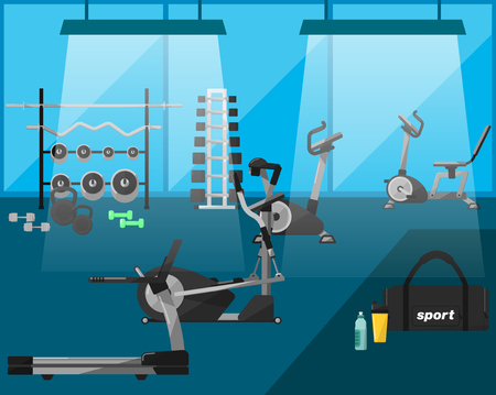 exercise equipment: Gym, gym workout, gym equipment. Gym interior. Vector gym.  Fitness equipment in a gym, cardio machines, gym with exercise equipment. Treadmill, weights, dumbbells. Vectors gym icons. Bodybuilding. Illustration