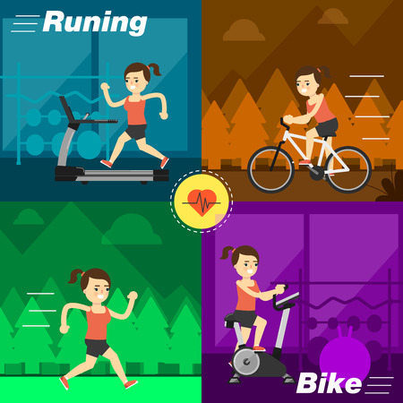 aerobic exercise: Aerobic exercise, running on treadmill, cycling, jogging on the street, riding on the ellipsoid. Gymnastics, weight loss, weight loss. Healthy lifestyle. Fit, athletic, activity, weights, gymnasium.