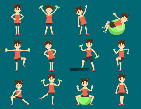athletic activity: Young girl plays sports. Beautiful body. Set Exercise, morning exercise, stretching, step, fitball. Gymnastics, weight loss. Healthy lifestyle. Fit, athletic, activity, weights, gymnasium. Fitnes icon