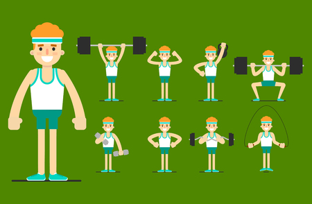strength training: Training for men, weight training. Exercises with barbells and dumbbells. Set strength exercise. Cartoon man plays sports. Healthy lifestyle. Strength, bodybuilding, muscles, beauty. Gym equipment