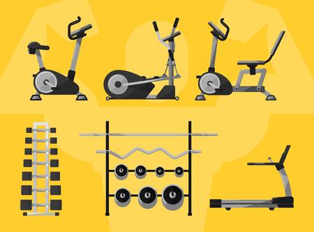 ジム機器、ジム、ジムのワークアウト。ジム間フィットネス機器、カーディオ マシン、ジムの運動器具。トレッドミル アイコン、重み、ダンベル   イラスト・ベクター素材