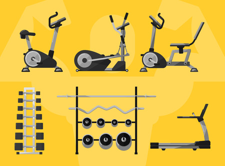 Gym equipment, Gym, gym workout. Gym interior. Fitness equipment, cardio machines, gym with exercise equipment. Treadmill icon, weights, dumbbells icon. Vectors gym icons. Bodybuilding. Gym Isolated. Vettoriali