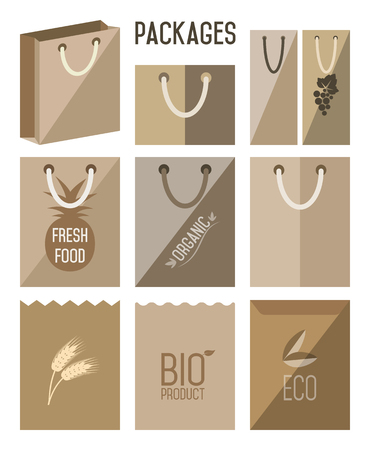 cartons: Bio pack, eco pack. Carton pack, cartons pack icons. Biodegradable bags. Ecology, Environmental Protection. Cartons icon set, vector package.