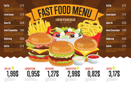 Fast food restaurant menu template vector illustration elements. Set of abstract advertising price tags about fast food meal. Different burgers and cheeseburgers.