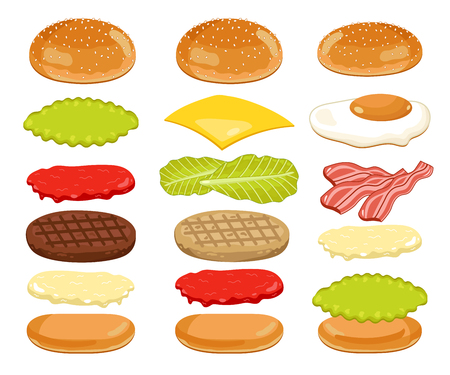 burger bun: Burger isolated. Burger ingredients on white backgrounds. Bun, Cheese, Beef, Salad, Ketchup. Vector Burger Icon Set.