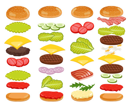 Burger isolated. Burger ingredients on white backgrounds. Bun, Cheese, Beef, Salad, Ketchup. Vector Burger Icon Set. Banco de Imagens - 51300488