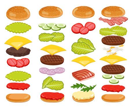 Burger isoliert. Burger Zutaten auf weißem Hintergrund. Brötchen, Käse, Rindfleisch, Salat, Ketchup. Vector Burger Icon Set.