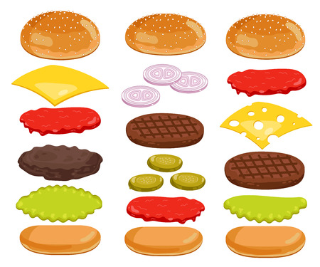Burger isolated. Burger ingredients on white backgrounds. Bun, Cheese, Beef, Salad, Ketchup. Vector Burger Icon Set.