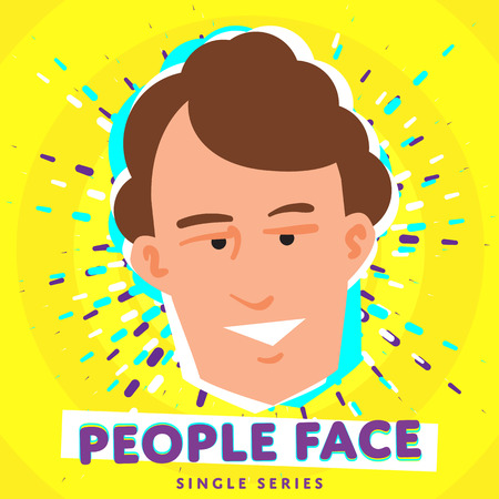 teenagers laughing: Cartoon smiling people face. Vector face icon.