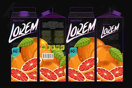 grapefruit juice: Template Packaging Design Grapefruit Juice. Concept design of Fruit Juice. Abstract Cardboard Box for Juice. Vector Packaging of Grapefruit Juice. Packaging Elements of Cardboard Box Template