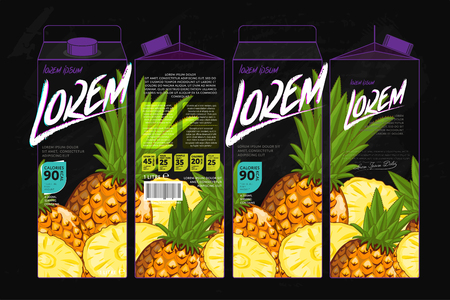 pineapple juice: Template Packaging Design Pineapple Juice. Concept design of Fruit Juice. Abstract Cardboard Box for Juice. Vector Packaging of Pineapple Juice. Packaging Elements of Cardboard Box Template Illustration