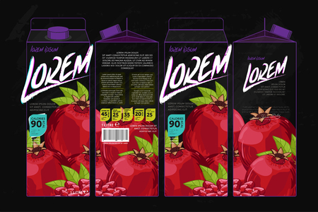 pomegranate juice: Template Packaging Design Pomegranate Juice. Concept design of Fruit Juice. Abstract Cardboard Box for Juice. Vector Packaging of Pomegranate Juice. Packaging Elements of Cardboard Box Template Illustration