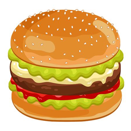 hamburguesa: Cheeseburger aislado en el fondo blanco.