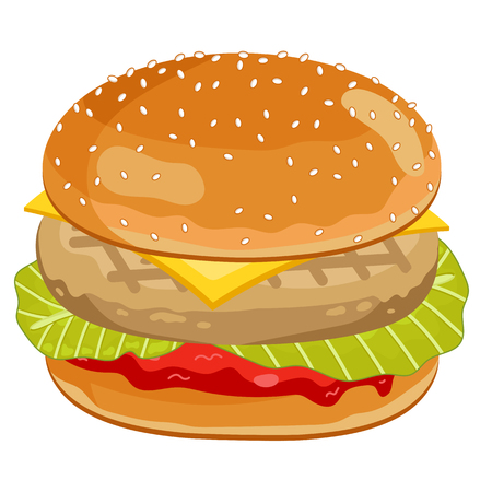 classic burger: Chicken Burger Isolated on White Background.
