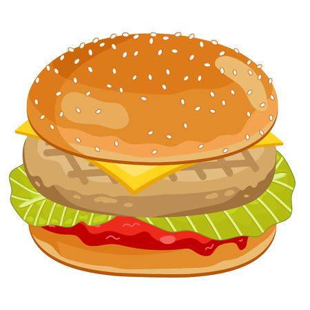 hamburguesa: Hamburguesa de pollo aislados sobre fondo blanco.